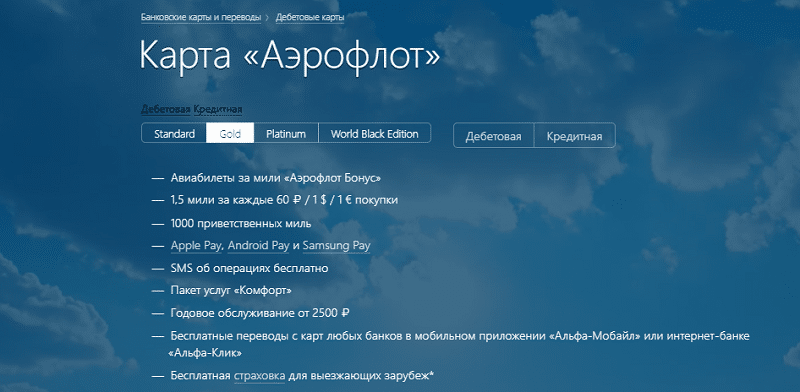 карта Альфа-Банка Аэрофлот Бонус